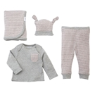 Pink & Gray Striped Boxed Gift Set