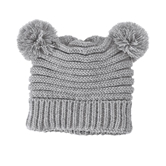 Gray Pom-Pom Knit Hat