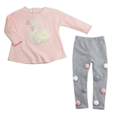 Swan Tunic & Pom-Pom Legging Set Toddler Assortment