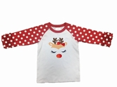 Girl Reindeer Face 3/4 Sleeve T-Shirt Assortment and FREE Display