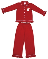 Red with Ruffle Sleeves Santa Head Pajamas- Mini Marie Asst & FREE Display