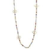 "44"" Multi Handknotted Necklace with Clover Stations, 2"" Ext."