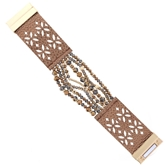 BD & Bronze Multi Strand Bronze Leather Magnetic Clasp Bracelet