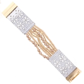 Champagne Multi Strand Silver Leather Magnetic Clasp Bracelet