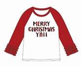 Merry Christmas Y'all Red Ruffle/White 3/4 Sleeve T-Shirt Asst & FREE Disp