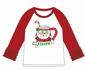Tis the Season Red Ruffle/White 3/4 Sleeve T-Shirt Assortment & FREE Disp