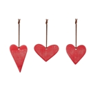Ceramic Heart Ornaments - 3 Assorted