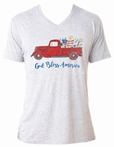 God Bless America Heather White V-Neck T-Shirt Assortment