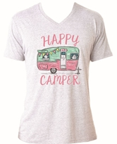 Happy Camper Heather White V-Neck T-Shirt Assortment