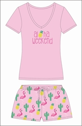 Aloha Weekend Pajama Short Set Assortment and FREE Display