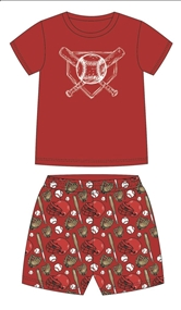 Baseball Pajama Short Set Assortment and FREE Display
