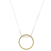 "30"" Silver Chain with Gold Circle, 3"" Ext."