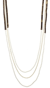 "38"" 3 Layer Hand Painted Gold Fleck Leather with Pearl Beaded Strands,3""Ext"