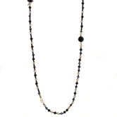 "40"" JET, BD, Gold Mixed Beaded Necklace"