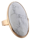 Howlite Large Oval Stone Adjustable Ring