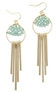 Mint Bead Weave Gold Fringe Dangle