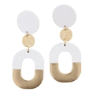 White Circle Stud with White & Gold Oval