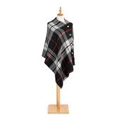Black/Red Reversible Button Poncho