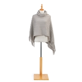 Cowl Neck Poncho - Taupe and Cream