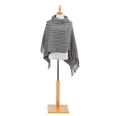 Cowl Neck Poncho - Navy and Cream
