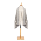 Woven Stole - Cream and Grey