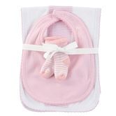Pink Burp, Bib & Sock Set