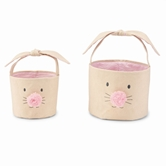 Pink Bunny Face Easter Basket Set