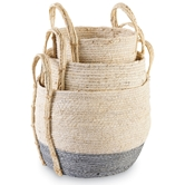 White & Gray Seagrass Basket Set