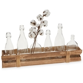 Planked Wood Vase Crate Set
