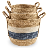 Blue & White Stripe Basket Set
