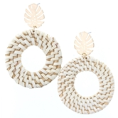 Gold Palm Leaf Stud With Open Circle Wicker Weave