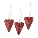 Small Metal Heart Ornaments - 3 Assorted