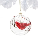 Glass Ball with Hanging Cardinal Orn